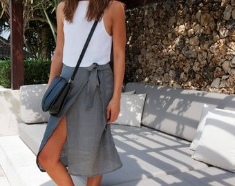 Midi Wrap Skirt, Dark Grey Linen Wrap around Mid Length Skirt