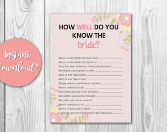 How Well Do You Know The Bride? Bridal Shower Game Printable Digital Download