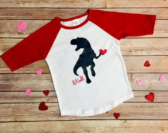 Kids Valentine's Shirt, Valentines Outfit, Dinosaur Valentine, Dinosaur Shirt, Dino Shirt, Valentines Day Outfit