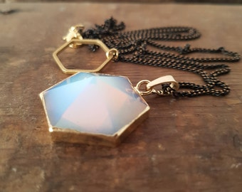 Opalite hexagon black gold plated Necklace