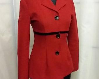 Vintage red jacket red/black velvet jacket red blazer size 3/4