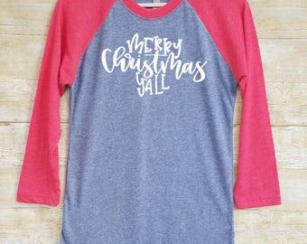 Christmas raglan shirt, Christmas shirt raglan, Christmas raglan, womens Christmas raglan, Christmas baseball tee, Merry Christmas y'all
