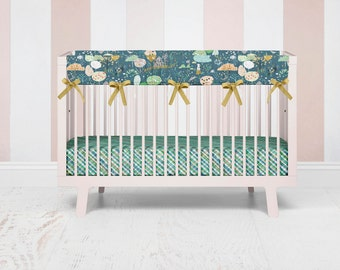Ambrosia Orchard Crib Rail Guard, Floral Baby Bedding, Baby Girl Crib Rail Cover, Bumperless Crib Bedding, Crib Rail Cover, Girl Bedding