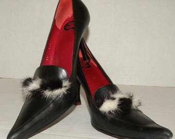 ESCADA Vintage Pointy Toe Pumps / Black with Black & White MINK Fur Trim / Size 39 Made Italy US size 8 - 8.5