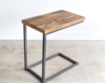 Reclaimed Wood C Table / Industrial Box Frame Side Table / C Metal Base