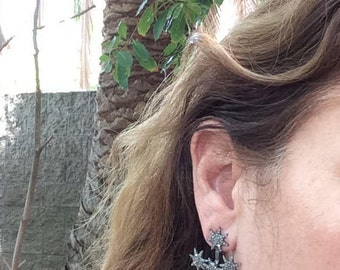 Starburst Earrings of Sterling Silver and Diamonds