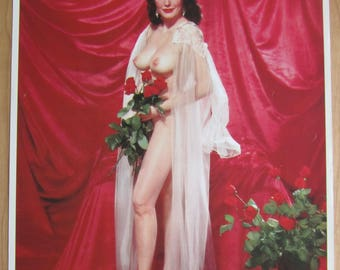1950's Sexy Pinup Holding Roses Calendar Art Print - Forever Yours