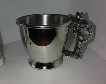 Pewter Teddy Bear Christening Mug