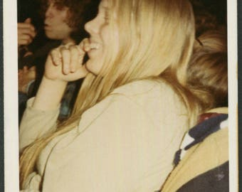 Vintage Color Photo of Profile of Woman Watching a Performance Smiling 1970's, Original Found Photo, Vernacular Photography
