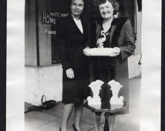 Vintage Snapshot Photo Ladies Pose with Their Completed Ceramics San Diego 1950's, Original Found Photo, Vernacular Photography