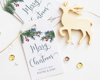 Christmas Gift Tags, Merry Christmas Tags, 25 Happy Holidays Tags, Personalized Christmas Tags, Winter Holiday Tags