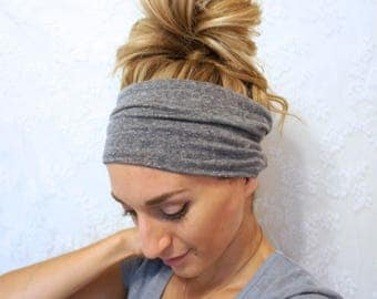Grey Extra Wide Yoga Headband/ Wide Headband/ Boho Headband/ Women's Fitness Headband