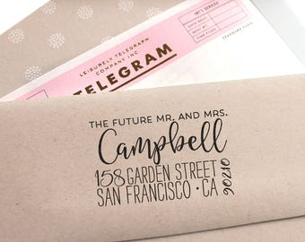 Return address stamp, custom Address Stamp with a fancy font for weddings, housewarming parties and as a customized gift for holidays