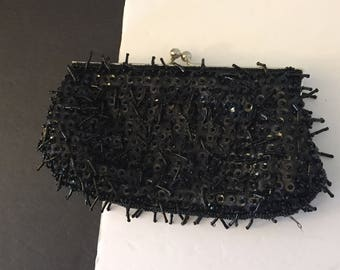 Beaded Bag, Black Beaded Bag, Black Evening Bag