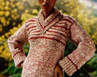 V-Neck Sweater Vintage Knitting Pattern Instant Download