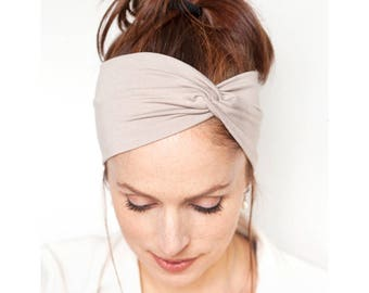 Beige Turban Headband - Women Turban Headband Beige Headwrap Beige Headband Twisted Headband Women Turban Women Headband Women Gift for Her