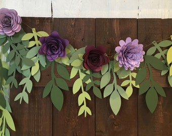 FREE SHIPPING Mixed Leaf Paper Garland