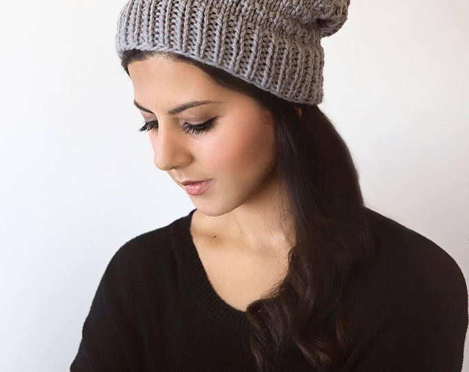 Easy and Stylish Chunky Beanie Hat Knitting Pattern (Adult Woman and Child Sizes)