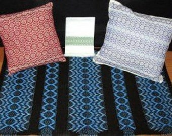 """Swedish Weave Designs """"Desert Rose"""" by Katherine Kennedy  Designs for Huck Weaving on Monk's Cloth, Huck Toweling, pre-finished Pillow & Rug"""