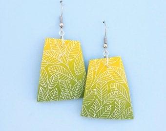 Bright polymer clay earrings, leaves earrings, yellow earrings, big polygonal earrings, green earrings, lemon yellow, hippie earrings, boho