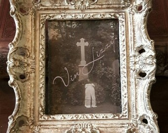 Antique Photo, Tombstone, Cemetery, Black White, Berlin Graveyard Postcard, Cross Grave Marker, Funeral Wreath, Gothic, Oddities, Props