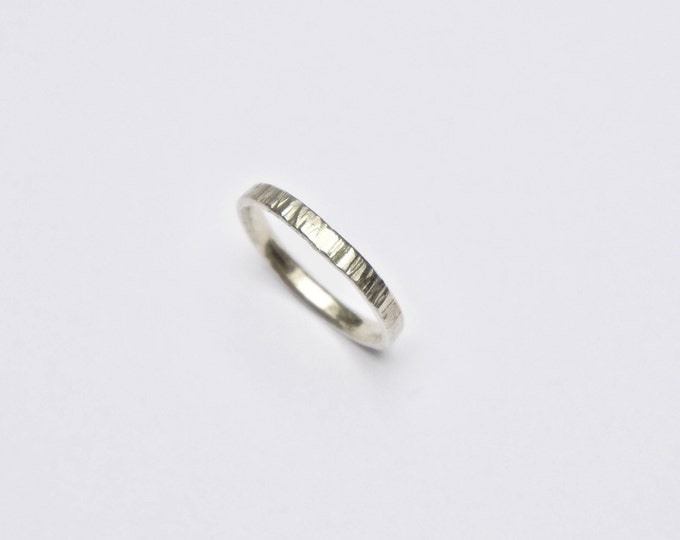 Hammered Tree Bark 9 carat White Gold Ring