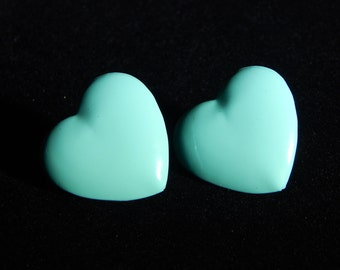 Vintage Light Blue Heart Earrings Blue Heart Shaped Stud Pierced Earrings