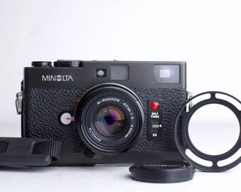 Minolta CLE with Minolta M-Rokkor 40mm F/2 Lens and Accessories - 35mm Film Rangefinder Camera