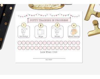 POTTY CHART GIRL theme Instant Download Digital File Routine Chart Behavior Chart Potty Progress Shabby Bunting Design