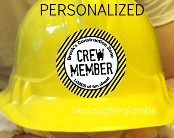 Personalized Construction Theme Party Printable CREW MEMBER Sticker design 2.5 inch Round