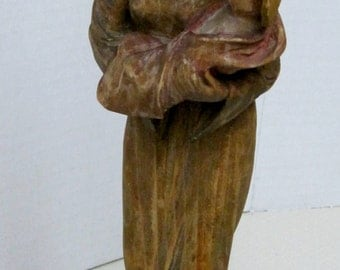 "Vintage Hand Carved Wood German Madonna and  12 1/2"" Tall"