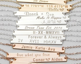 Personalized Name Bar Necklace, Custom Name Necklace, Engraved Necklace, Custom Stamped Necklace, Monogram Necklace, Silver, Rose, Gold H440