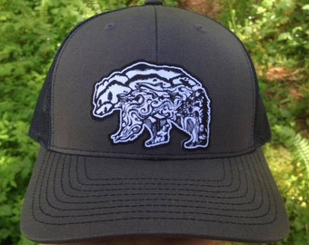 Kodiak Bear with Salmon Charcoal front Navy  Mesh back Trucker Hat, Nature,  Grey Hat, Outdoor gear