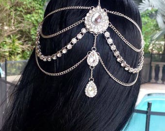 GODDESS Silver Gold Rhinestone Wedding Bridal Prom Bohemian Boho Grecian Head Chain Hair Jewelry Head Piece Bollywood Bride Glam