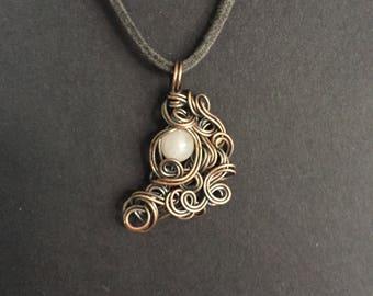 Rose Quartz Copper Wrapped Pendant Necklace