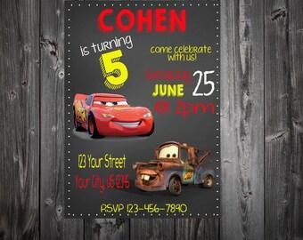 Disney Cars Birthday Party Invitation