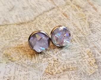 Angel Aura Opal Geode Druzy Stud Earrings, Surgical Stainless Steel Earrings, Fake Gauge Earrings, Birthday Gift, Large Ear Studs