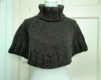 Ready-to-ship: Knitted poncho / cape / capelet / hunter hood made of 100% wool