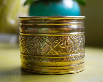 Small Vintage Mid-Century 1970's Solid Brass Bowl Planter (Made in India)