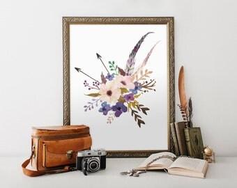 boho floral printable, boho floral print, feather arrow wall decor, boho flower printable 8x10 floral print, floral arrow feather print