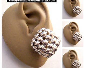 Givenchy Diamond Basketweave Disc Clip On Earrings Silver Tone Vintage Open Weaved Open Bands Rounded Edges