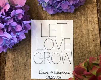 10 LET LOVE GROW personalized wedding favors - seed packets - flower packets