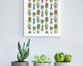 Poster | Illustrated Poster | Wall Decor | Minimal Print Poster | Home Decor | Poster Design | Postcard | Cactus | Succulent | Watercolor