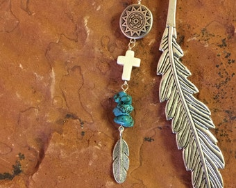 Southwest Cross and Silver Feather Bookmark, Cross Bookmark, Silver Feather Bookmark, Turquoise Beaded Bookmark, Western Gift, Bookclub Gift