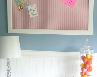 35x25 white frame bulletin board with pink and white ticking fabric-memo board, message board, pin board, bulletin board