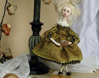 Art doll little princes unique Christmas decor art doll, Collectible clay art doll