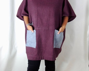 Burgundy cotton flannel dress, dress with pockets, blouse with pockets, sweater with pockets