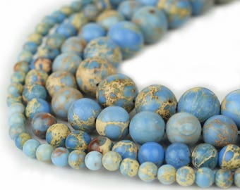 "Natural Sea Sediment Jasper Beads 4m 6mm 8mm 10mm Round Cornflower Blue Imperial Impression Stone, 15.5"" Full Strand, Wholesale"