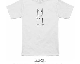 Sausage Wolf T-Shirt // Fantasy Gifts // Cute // Apparel // Men and Women Sizes Available // Kid-friendly