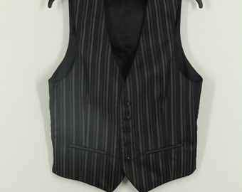 90s • Vintage • Men's Gilet • Striped Men's Gilet • Black Vest • Gray Vest • Black Men's vest • Striped Vest • Gray Men's Gilet • Hipster